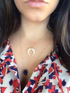 Double Horn Necklace, MINI Bone Tusk Necklace Pendant, Crescent on Etsy, $66.00