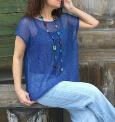 Items similar to Women linen top oversized on Etsy Poncho Knitting Patterns, Knitted Poncho, Loose Knit Sweaters, Warm Sweaters, Fall Fashion Outfits, Fashion Wear, Plus Size Summer Tops, Lace Top Dress, Poncho Tops
