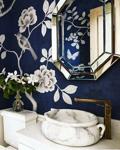 Gorgeous cobalt blue and white powder room.