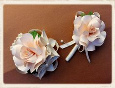Paper flower wrist corsage and boutonniere by MyArteasure on Etsy