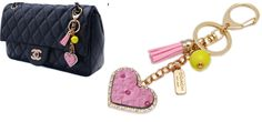 COACH GOLD METLA LEATHER  KEYCHAIN WITH TASSEL AND BEADS FOR HANDBAGS GIFTS,WOMEN BEST FAVORS