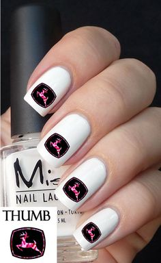 Pink Camo John Deer Nail Decal browning by DesignerNails on Etsy, $3.95