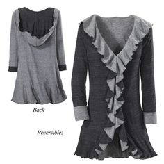 Black and Gray Reversible Hooded Jacket - New Age, Spiritual Gifts, Yoga, Wicca, Gothic, Reiki, Celtic, Crystal, Tarot at Pyramid Collection