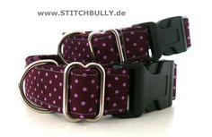 Halsband Gassi Punkte Hund Fliegenpilz S 2 cm brei von stitchbully.de auf DaWanda.com