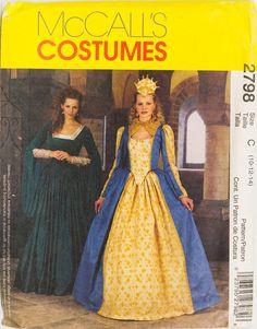 Misses Renaissance Queen Dress Costume McCalls 2798 UNcut Bust 32 - 36 inches