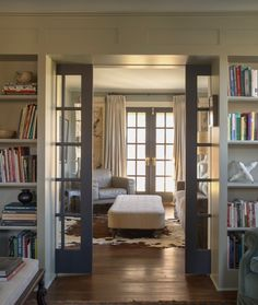 I love these sliding glass doors for a study/library