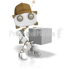 This clip art image shows a delivery robot figure holding a box. #powerpoint #clipart #illustrations