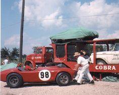 Lake Garnett, Kansas July 1963. This was Ken Miles' U.S.R.R.C. car. The other two U.S.R.R.C. cars were black . Notice the original kidney bean Halibrand wheels.