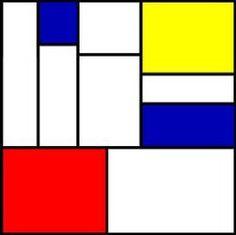 Op deze afbeelding staat een geometrische compositie. De hele afbeelding bestaat uit vlakken.
