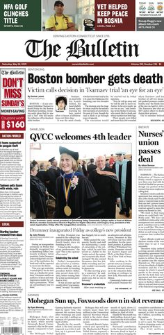 Saturday, May 16, 2015 - Subscribe to The Bulletin today: http://www.norwichbulletin.com/subscribenow #ctnews #newlondoncounty #windhamcounty