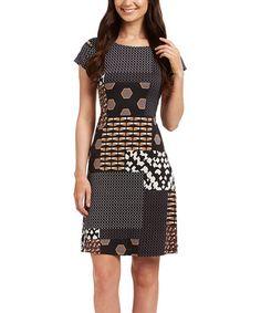 Look what I found on #zulily! Black & Taupe Patchwork Sheath Dress #zulilyfinds