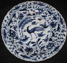 BIG CHINESE PORCELAIN BIRD&FLOWER, 44.5 CM B&W CHARGER, 19TH C,XUANDE MARK, NR.