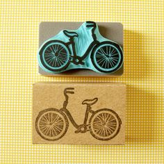 Vintage bicycle stamp - hand carved rubber stamp of a bicycle.