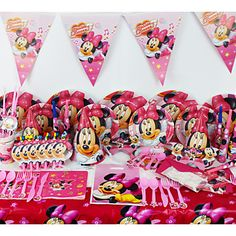 78pcs  Minnie Mouse  Baby Birthday Party Decorations Kids Evnent Party Supplies Party Decoration – USD $ 23.75
