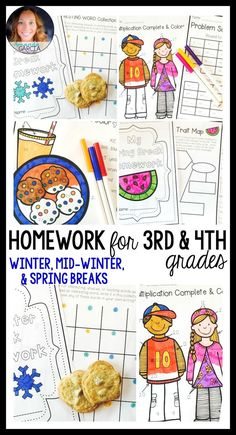 Teachers! Give your third and fourth graders FUN homework packets for winter break, mid-winter break, and spring break! The homework activities are aligned to the Common Core, and cover math, reading, and writing! Helpful for a long President's Day weekend, as well.