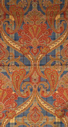 Scalamandre Highland Fling cotton velvet - Blues and Reds