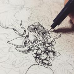 Botanical drawings by noah's art. Dotted Drawings, Ink Pen Drawings, Tattoo Drawings, Mushroom Drawing, Mushroom Art, Botanical Drawings, Botanical Art, Flash Art, Handpoke Tattoo