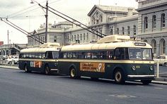 Trolleybuses on Wellington St, outside Perth Train Station, Perth. 1968.