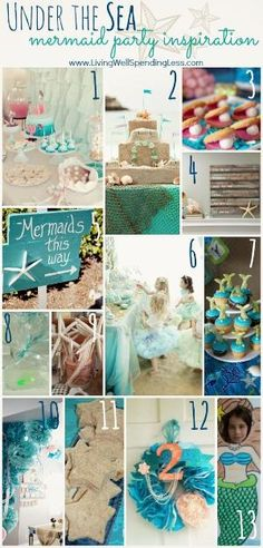 Under the Sea--Mermaid Party Inspiration Board (Tons of great ideas plus links to MORE ideas!) #mermaid #party by yvette