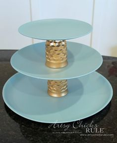 Thrifty Makeovers - Old Juice Glasses and Plates turned Jewelry Tiered Tray - Artsy Chicks Rule