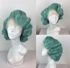 """💚🍃 A vintage styled Marilyn in """"Mint Green"""" from my website!🍃💚 Who thinks we should bring this colour back in stock? Braided Bun Hairstyles, My Hairstyle, Retro Hairstyles, Wig Hairstyles, Black Girls Hairstyles, School Hairstyles, Wedding Hairstyles, Drag Wigs, Updos"""