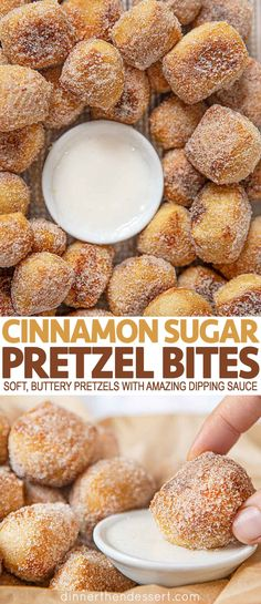 Cinnamon Sugar Pretzel Bites are perfect sweet dessert bites, soft buttery pretzels bits coated with cinnamon sugar and an awesome dipping sauce! Sweet Desserts, Sweet Recipes, Delicious Desserts, Yummy Food, Desserts Homemade, Easy Desserts, Homemade Soft Pretzels, Pretzels Recipe, Cinnamon Sugar Pretzels