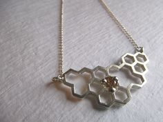 SALE - Honeycomb Open Cell Necklace in Sterling Silver with Yellow CZ. $50.00, via Etsy.