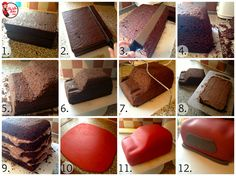 Hello muffins, Here is a step by step tutorial of how to make a Mini Cooper car cake! These basic principles are easily transferrable to any car cake. Bake two 8 x 10 cakes and stack them straight on. Car Cake Tutorial, Fondant Cake Tutorial, Fondant Cakes, Cupcake Cakes, Fondant Bow, Cupcakes, Fondant Flowers, Fondant Figures, Mini Cooper Cake