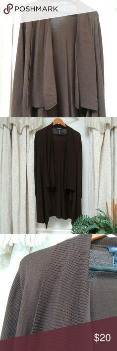 Jones New York signature long brown cardigan A brown shawl collar long cardigan. Great for everyday wear. jones new york signature Sweaters Cardigans