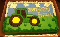 plain tractor sheet cake for John Deere birthday theme.