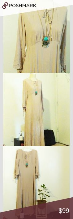 NWOT Free People Nude Boho Maxi dress Very simple and trendy boho style. Soft nude blush color. Ties along to the arms, side zipper, plunge neck that ties on top. Very whimsical, and perfect for this autumn. Pair with booties and your favorite turquoise jewels or sandals. Offers Welcome. Not offended by what you can afford, I might say YES! Free People Dresses Maxi