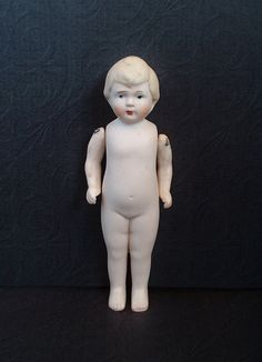 Antique GERMAN Bisque DOLL Miniature Jointed Arms Blond Hair Boy