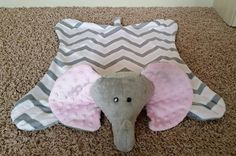 Chevron grey and pink minky dimple dot elephant snuggle blanket/toy