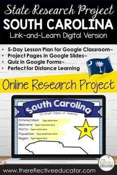 Digital State Research | SOUTH CAROLINA for Google Classroom™ | Distance Learning is a 5-day lesson plan for upper elementary students. Students conduct an online research project about the state to find information about symbols, the flag, and other basic facts. This resource is compatible with Google Classroom and for distance learning. SOUTH CAROLINA Digital State Research Project is easy for teachers and engaging for students. Lesson Plan Outline, Link And Learn, 4th Grade Social Studies, Research Projects, Google Classroom, Upper Elementary, Missouri, Distance, Remote