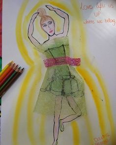 Love lifts us up where we belong... Recycling trash. Aquarell pencils used and approved :)