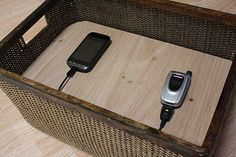 Invisible charging station--if stored on a shelf somewhere--Great tutorial for a charging station! Very clever!