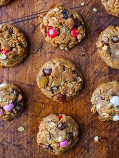 Trail Mix Peanut Butter Cookies (GF) averiecooks.com