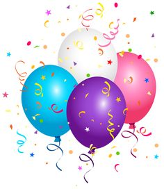 Balloons and Confetti PNG Clipart Image