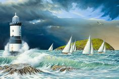 Sailing at Penmon (Print) by Keith Davies - one of my absolute favourite places Seaside Theme, Lighthouse Painting, Sailing, Art Gallery, Statue, Painting Art, Paintings, Anglesey, Artwork