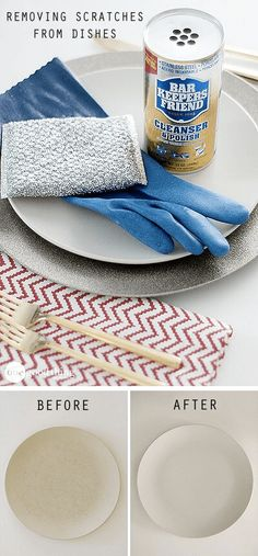 How To Make Your Scratched Dishes Look Brand New - healthylivingcity Diy Home Cleaning, Spring Cleaning, Cleaning Hacks, Fun To Be One, How To Make, Homekeeping, Diy Cleaners, Natural Cleaning Products, Hacks Diy