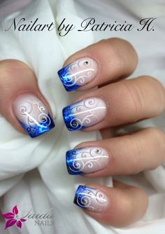 Nageldesign bilder abstralte muster blau schwarz n gel for Nagelbilder galerie