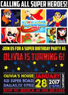 ★★★DC Superhero Girls Birthday Invitation★★★   ------PLEASE READ ENTIRE DESCRIPTION BEFORE ORDERING------  !!!NO PHYSICAL ITEM WILL BE POSTED!!!  This item is for a DIGITAL invitation what you can print it as many as you need! You will get the personalized item only via email.  This list includes personalized digital high resolution (300dpi) file in JPG and PDF format as well. All text is customizable, and you can choose from either 5x7 or 4x6 size.  ★★PROCESSING TIME★★  You can choose the…