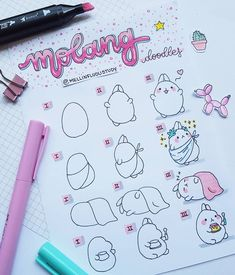 These step-by-step doodles are so adorable by 😍 Easy Doodles Drawings, Easy Doodle Art, Cute Easy Drawings, Simple Doodles, Awesome Doodles, Bullet Journal Aesthetic, Bullet Journal Writing, Doodle Art For Beginners, Doodle Art Journals
