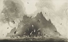 "Norman Ackroyd, etching ""Study of Sunlight, County Kerry, Ireland"" 2008 Norman Ackroyd, Etching Prints, Sculpture, Oeuvre D'art, Art Studios, Painting Inspiration, Light In The Dark, Painting & Drawing, Printmaking"