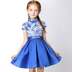 4c45a991a98fc Chinese style Church Wedding Party Dresses 2017 Flower Girl Dresses Royal  Blue Short A-Line / Princess Cascading Ruffles High Neck Short Sleeve  Embroidered ...