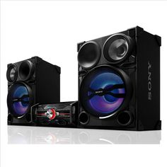 Your music will never sound more rich than it will with this 2000 Watts Shake System from Sony. This single CD stereo has Multi-Colored LED speakers, 4 audio inputs, and DJ sound effects. Mini System, Dj System, Audio System, Dj Sound Effects, Sony Home Theater System, Tvs, Home Theatre Sound, Electronic Deals, Best Headphones