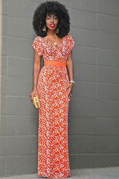 Contrast Waist Print Maxi Dress