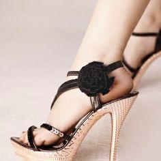 USD21.49Kovoll Fashion Flower Stiletto Super High Black PU Ankle Strap Sandals