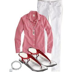 basic spring outfit with gingham shirt