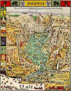 therangerstation:    Yosemite map, 1931 by Konabish ~ Greg Bishop on Flickr.
